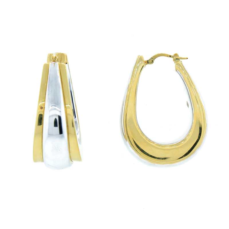 "Image of ""Gold Plated Two-Tone Sterling Silver Large Size Hoops"""