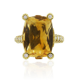 Judith Ripka 18K Yellow Gold Madeira Citrine Diamond Ring