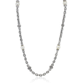 Judith Ripka 18K White Gold Diamond & Pearl Necklace