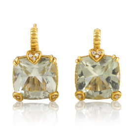 Judith Ripka 18K Yellow Gold Prasiolite & Diamond Earrings