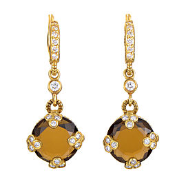 Judith Ripka 18K Yellow Gold Diamond & Smokey Quartz Earrings