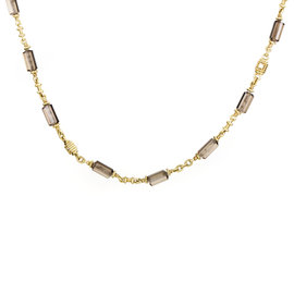 Judith Ripka 18K Yellow Gold Diamond & Smoky Quartz Choker Necklace