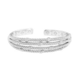 Judith Ripka 925 Sterling Silver Textured Hinged Bangle Cuff Bracelet