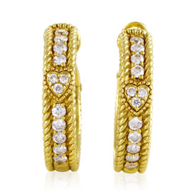 Judith Ripka 18K Yellow Gold Diamond Hoop Womens Earrings