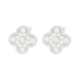 Van Cleef & Arpels 18K White Gold Diamond Alhambra Earrings