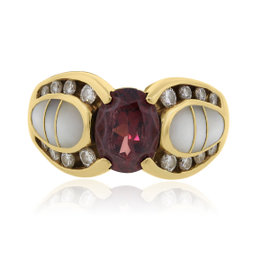 Kabana 14K Yellow Gold Garnet Diamonds Ring