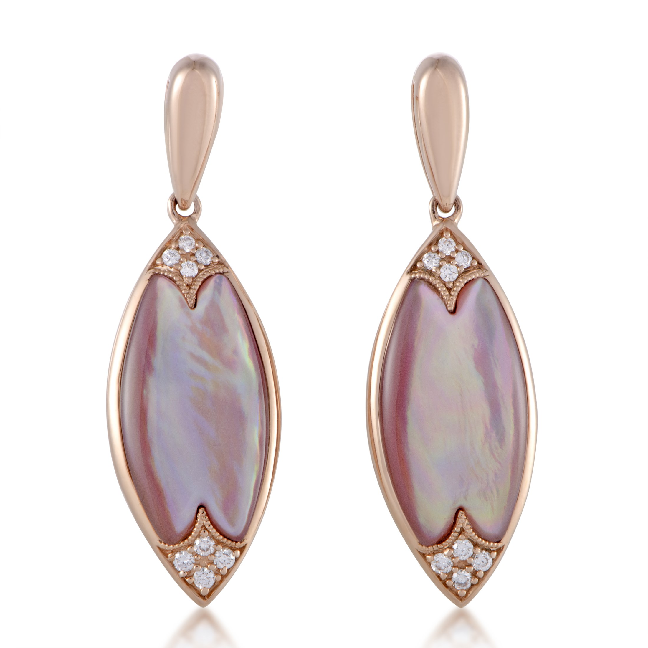 "Image of ""Kabana 14K Rose Gold Diamond and Pink Mother of Pearl Drop Earrings"""