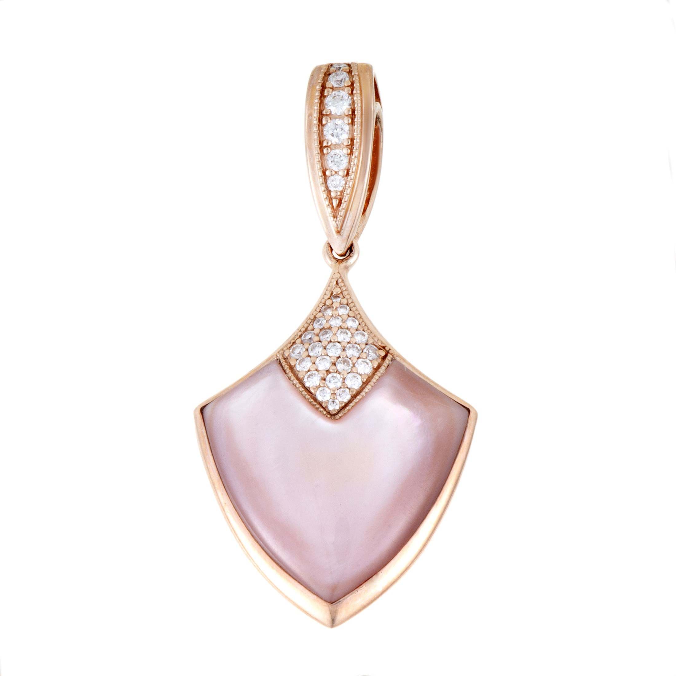 "Image of ""Kabana 14K Rose Gold Diamond and Pink Mother of Pearl Shield Pendant"""