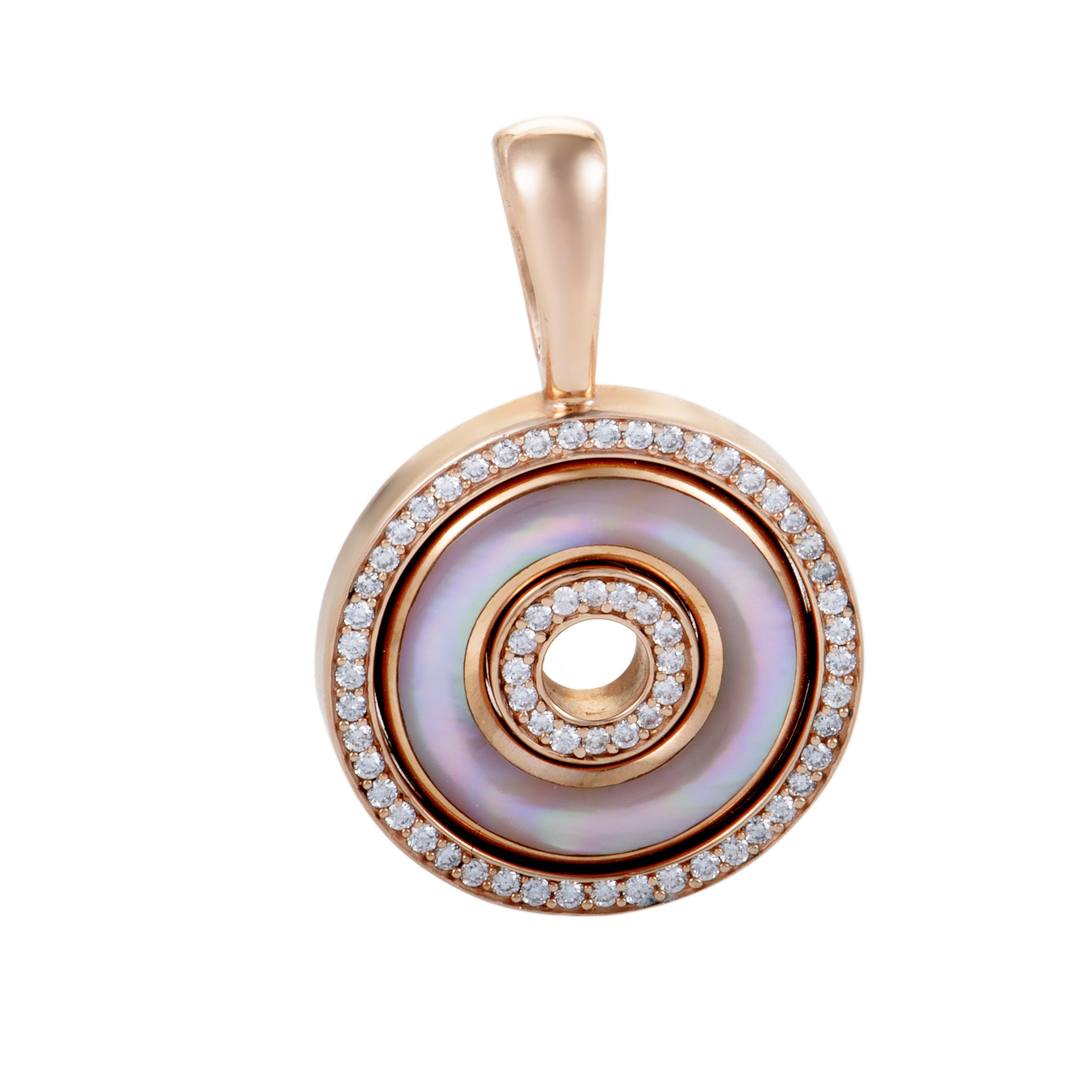 "Image of ""Kabana 14K Rose Gold Diamond and Pink Mother of Pearl Disc Pendant"""