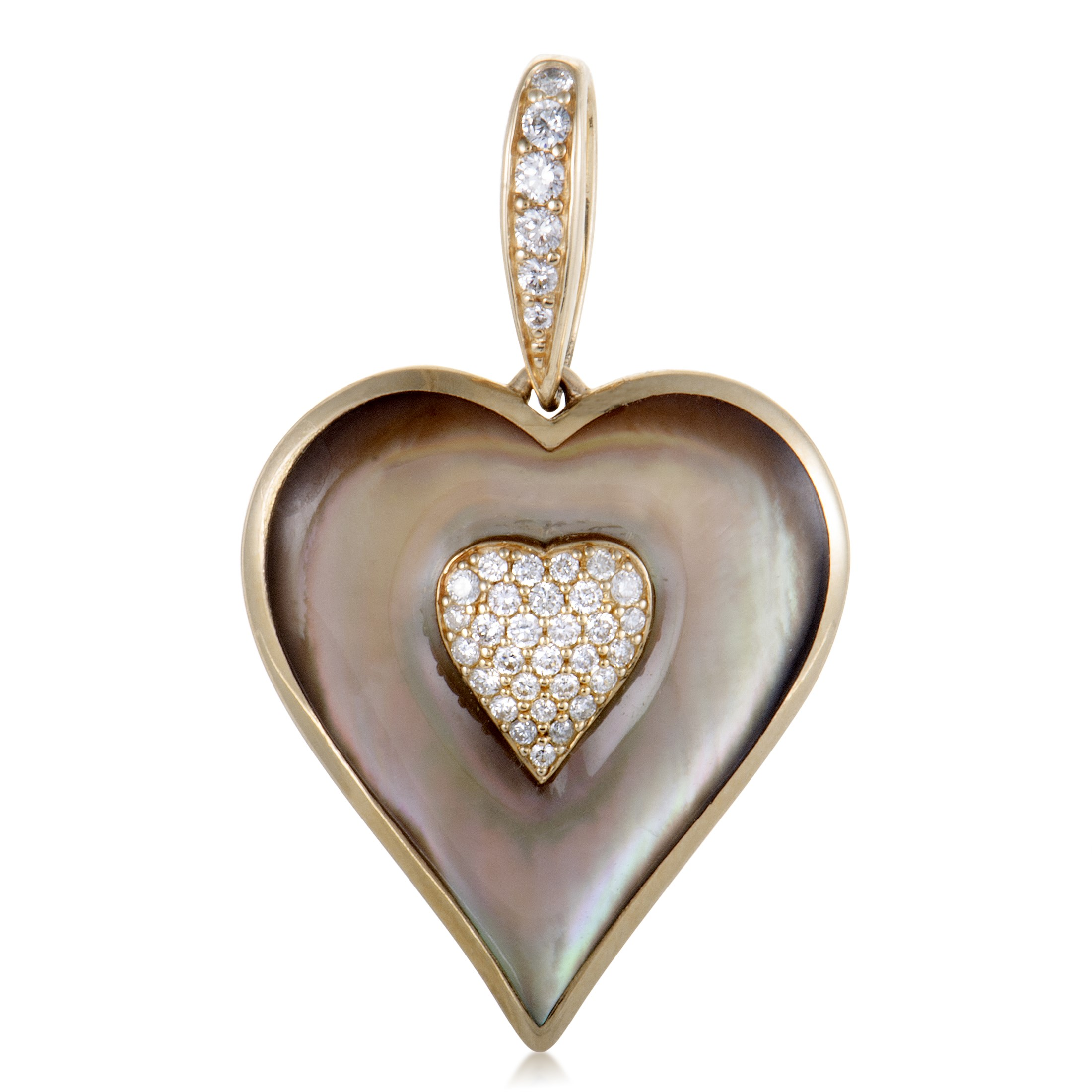 "Image of ""Kabana 14K Yellow Gold Diamond and Brown Mother of Pearl Heart Pendant"""