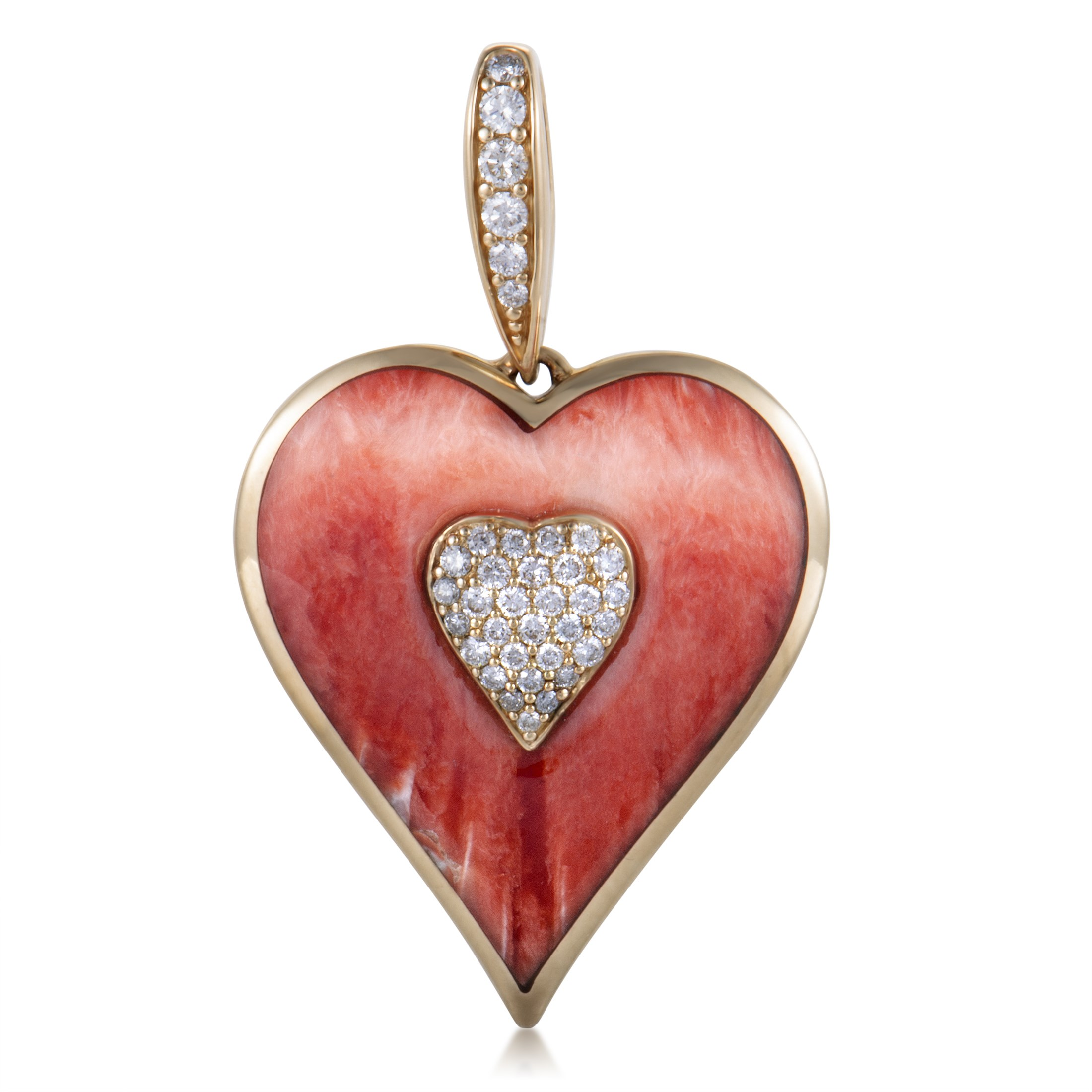 "Image of ""Kabana 14K Yellow Gold Diamond and Coral Heart Pendant"""
