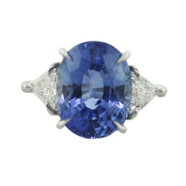 Platinum Sapphire and Diamond Cocktail Engagement Ring Size 6.25