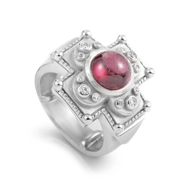 "Image of ""Kieselstein-Cord 18K White Gold Tourmaline & Diamond Ring"""
