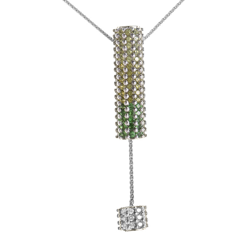 "Image of ""Koesia 18K White Gold Green Gemstone Pendant Necklace"""