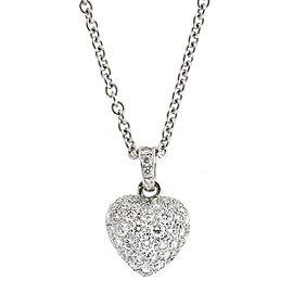 Cartier 18K White Gold Heart Shape Diamond Pendant Necklace