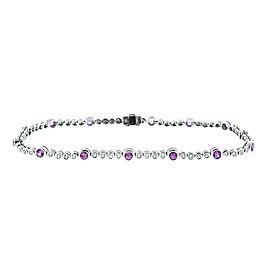 18K White Gold Diamond and Pink Sapphire Tennis Bracelet