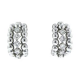 18K White Gold 3 Row Diamond Drop Earrings