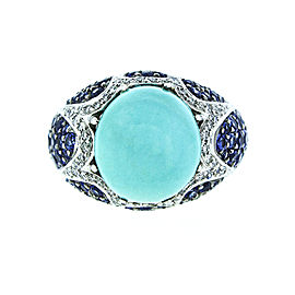 18K White Gold Diamond Sapphire And Turquoise Ring