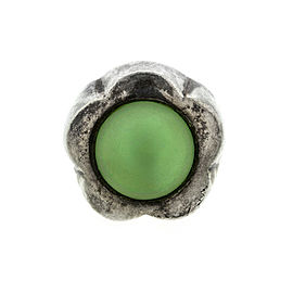 Ladies Sterling Silver Green Glass Ring
