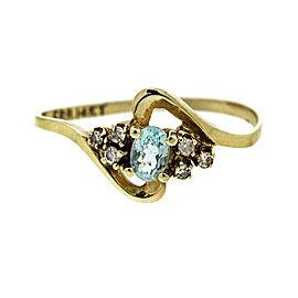 14k Yellow Gold Lady's Aquamarine & Diamond Ring