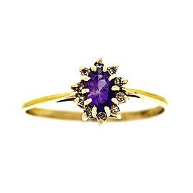 14k Yellow Gold Lady's Amethyst & Diamond Ring