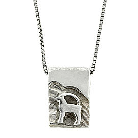 Lady's Silver Pendant Necklace with Ram Motif