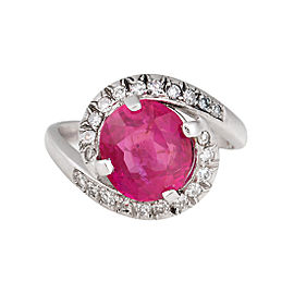 18K White Gold Unheated Burmese Ruby 0.20ctw Diamond Ring Size 6