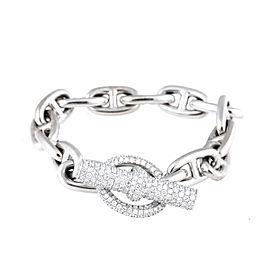 Hermes Style White Gold Diamond Bracelet