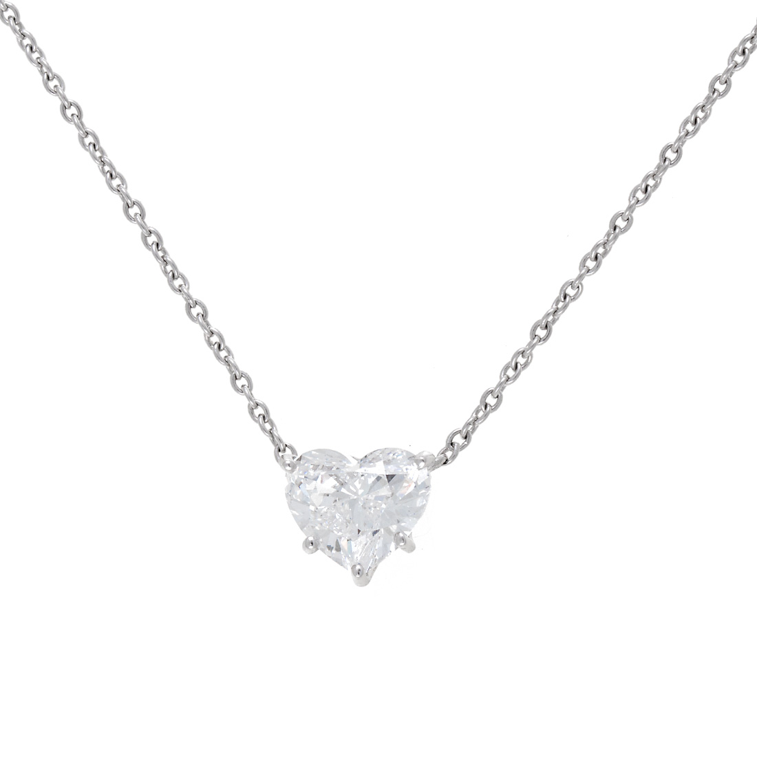 "Image of ""Graff Platinum & 1.50ct. Diamond Heart Shaped Pendant Necklace"""