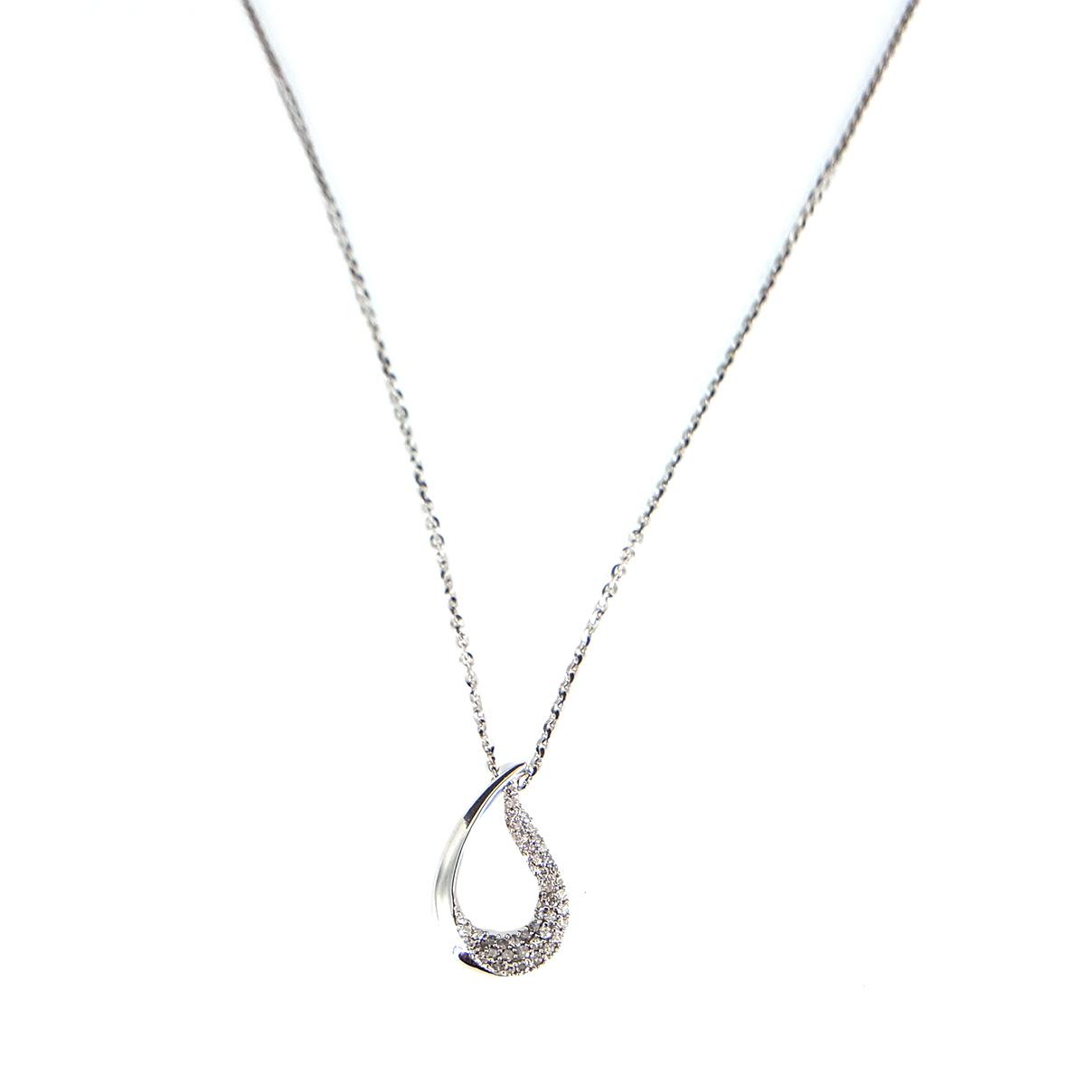 """Image of """"10K & 14K White Gold & Diamond Tear Drop Necklace"""""""