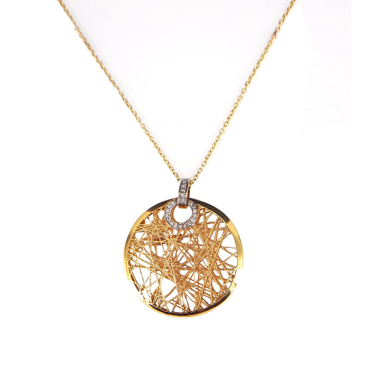 "Image of ""14K Yellow Gold Diamond & High Polish Net Pendant Necklace"""