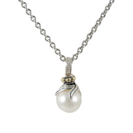 Lagos Sterling Silver & 18K Yellow Gold .05tcw Diamond & Metallic Luna Pearl Twist Pendant Necklace