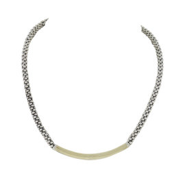 Lagos 925 Sterling Silver & 18K Yellow Gold Caviar Bold Necklace
