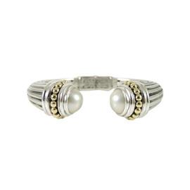 Lagos Sterling Silver 18K Yellow Gold Mabe Pearl Bangle Bracelet