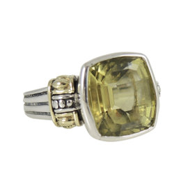 Lagos Sterling Silver & 18K Yellow Gold Lemon Citrine Glacier Ring Size 6