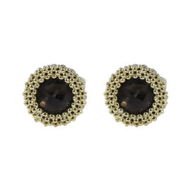 Lagos 925 Sterling Silver 18K Yellow Gold Passion Smoky Quartz Stud Earrings