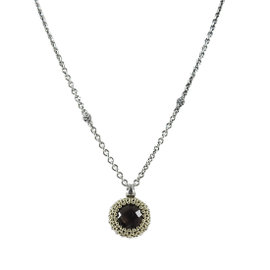 Lagos 925 Sterling Silver 18K Yellow Gold Smoky Quartz Pendant Necklace