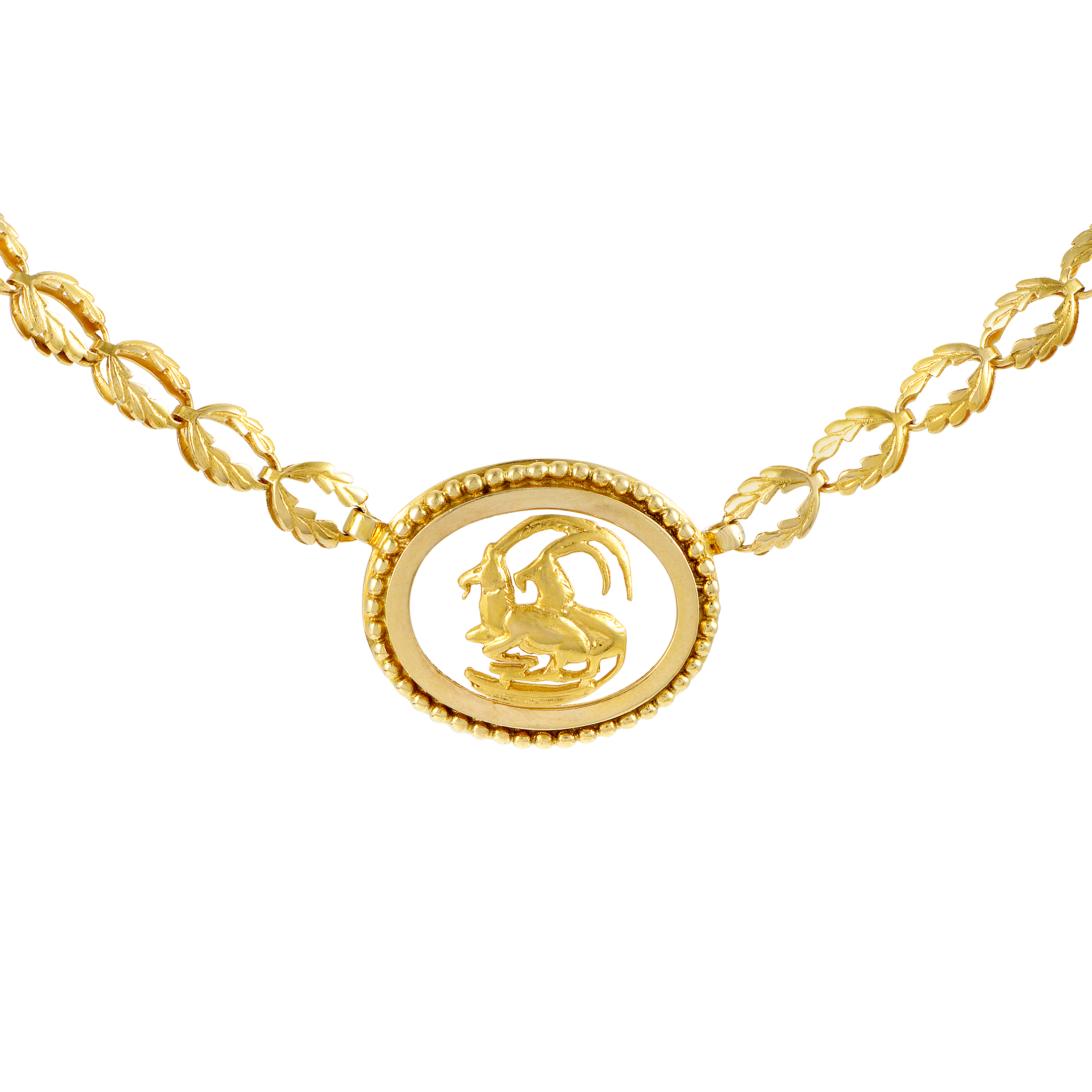 "Image of ""Ilias Lalaounis 18K Yellow Gold Frosted Glass Capricorn Pendant"""