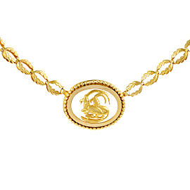 Ilias Lalaounis 18K Yellow Gold Frosted Glass Capricorn Pendant Necklace
