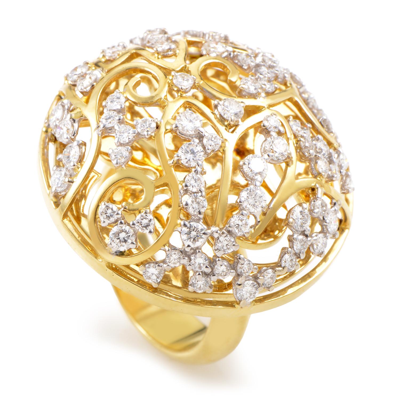 "Image of ""Lani Fratelli 18K Yellow Gold Diamond Lattice Ring"""