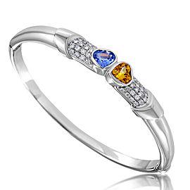 Lani Fratelli 18K White Gold 0.63ct Diamond & 2.68ct Multi-Sapphire Bangle Bracelet
