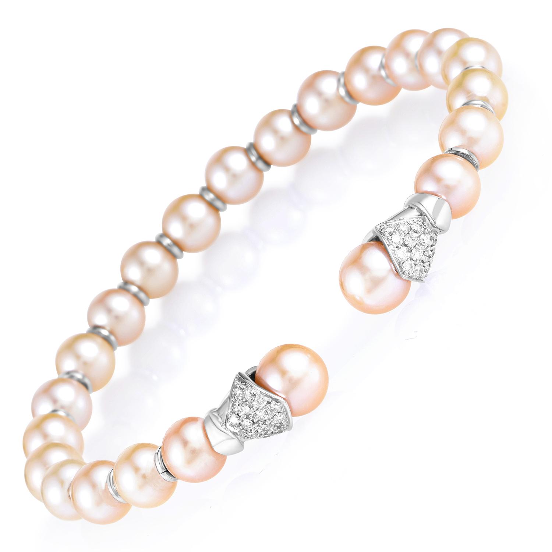 "Image of ""Lani Fratelli 18K White Gold Diamond & Pearl Bangle Cuff Bracelet"""