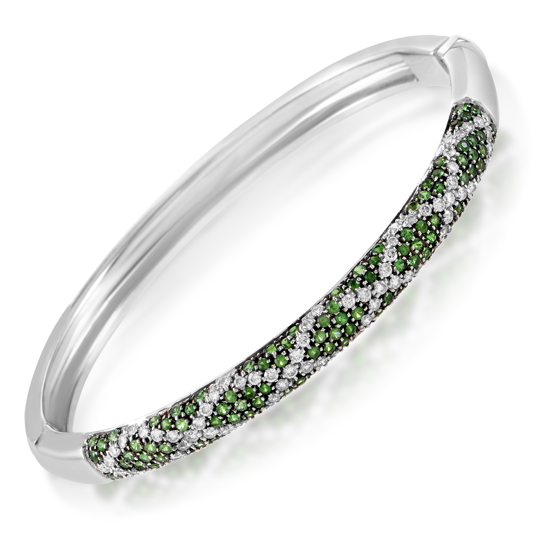 "Image of ""Lani Fratelli 18K White Gold Diamond & Tsavorite Bangle Bracelet"""