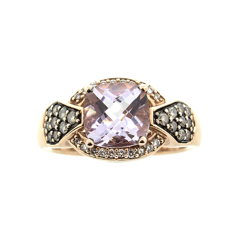 "Image of ""Le Vian 14k Rose Gold Chocolate and White Diamond Amethyst Ring"""