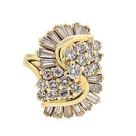 18k Yellow Gold and Diamond Ballerina Ring