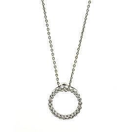 18k White Gold and Diamond Small Circle Pendant Necklace