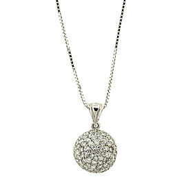 14k White Gold Pave Diamond Dome Pendant Necklace