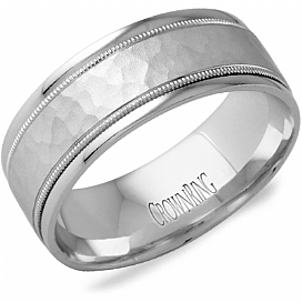 "Image of ""Crown Ring 14K White Gold Hammered Milgrain Wedding Band Ring Size 10"""