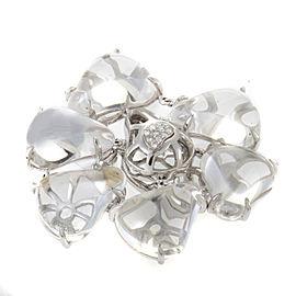 18K White Quartz Diamond Cocktail Ring