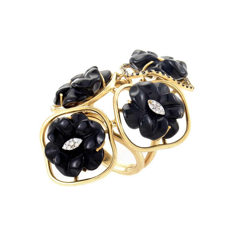 "Image of ""18K Yellow Gold Multi-Diamond & Onyx Flower Ring"""
